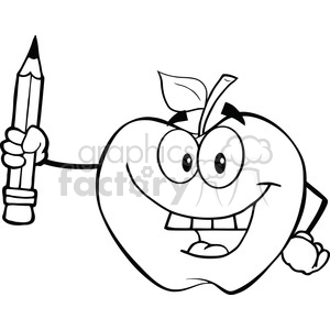 6530 Royalty Free Clip Art Black and White Apple Holding Up A Pencil