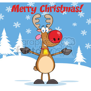 6664 Royalty Free Clip Art Merry Christmas Greeting With Reindeer With Red Nose Open Arms