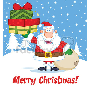 6672 Royalty Free Clip Art Merry Christmas Greeting With Santa Claus Holding Up A Stack Of Gifts clipart. Royalty-free image # 389708