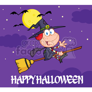 6632 Royalty Free Clip Art Happy Halloween Greeting With Little Witch Ride A Broomstick In The Night clipart. Commercial use image # 389728