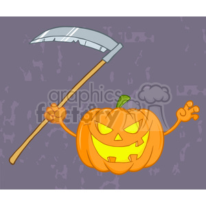 6639 Royalty Free Clip Art Scaring Halloween Pumpkin With A Scythe And Background clipart. Royalty-free image # 389758