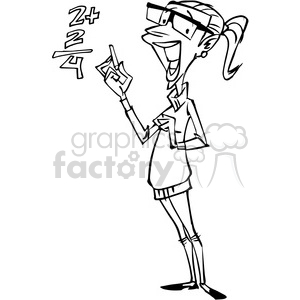teacher cartoon character in black and white clipart. Commercial use image # 389826