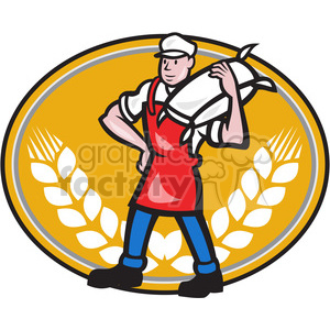 cartoon retro flour baker chef cooking wheat restaurant
