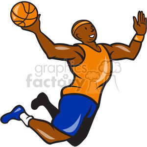 cartoon retro basketball player sports african+american jumping jump dunking