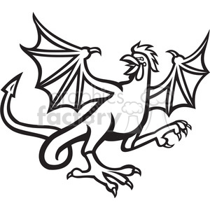 basilisk crowing side black white clipart. Royalty-free image # 389931