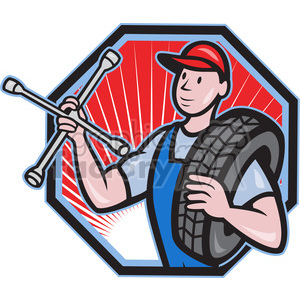 mechanical carry tyre shoulder wrench clipart. Commercial use image # 389951