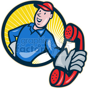 telephone repairman handing phone HALF10 clipart. Commercial use image # 390001