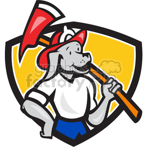 fireman dog carry fireaxe crest clipart. Commercial use image # 390007