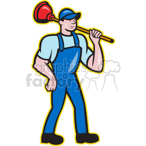 plumber plunger shoulder clipart. Commercial use image # 390017