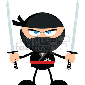 Royalty Free RF Clipart Illustration Angry Ninja Warrior With Two Katana Flat Design clipart. Royalty-free image # 390097