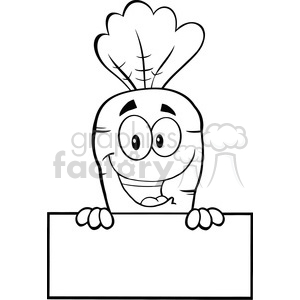 Royalty Free RF Clipart Illustration Black And White Happy Carrot Cartoon Character Over Blank Sign clipart. Royalty-free image # 390107