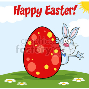 Royalty Free RF Clipart Illustration Happy Easter From Blue Rabbit Cartoon Character Waving Behinde Egg