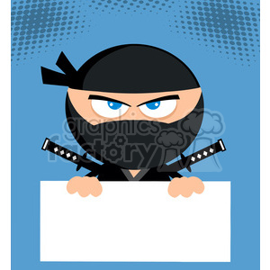 Ninja Warrior Cartoon Character Holding Blank Sign Flat Design background. Commercial use background # 390187