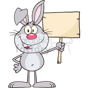 Royalty Free RF Clipart Illustration Funny Gray Rabbit Cartoon Character Holding A Wooden Board