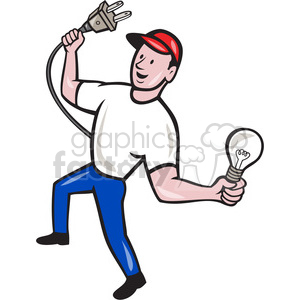 electrician holding bulb plug clipart. Commercial use image # 390419