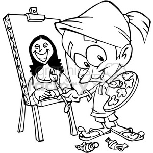 cartoon painter in black and white clipart. Royalty-free image # 390639