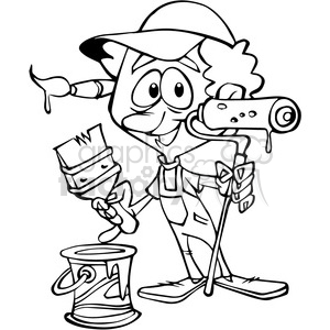 painter cartoon outline clipart. Royalty-free image # 390660