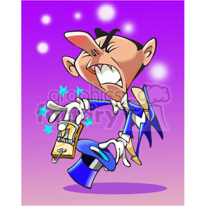 cartoon magician with mouse trap on his fingers clipart. Royalty-free image # 390670