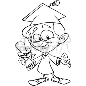 guy graduating cartoon in black and white clipart. Commercial use image # 390741