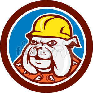 cartoon character mascot people funny bulldog construction worker hard+hat working