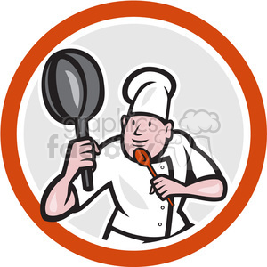 chef kung fu stance in circle clipart. Royalty-free image # 391375