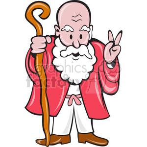 old man with cane giving peace sign clipart. Royalty-free image # 391385