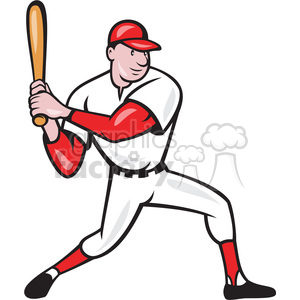 baseball player batting side kneel clipart. Commercial use image # 391395
