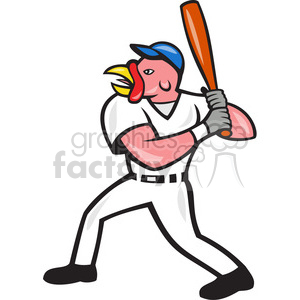 turkey baseball player batting mascot clipart. Commercial use image # 391405