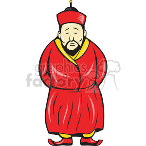 cartoon character mascot people funny asian man red monk buddhist