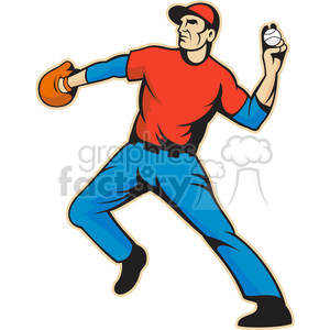 baseball fielder throwing ball side clipart. Royalty-free image # 391425