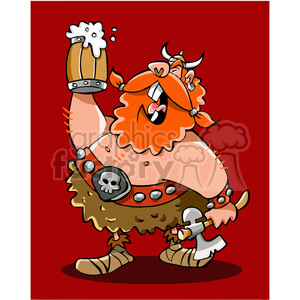 cartoon viking warrior drinking beer clipart. Royalty-free image # 391455