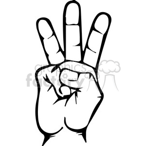 sign language letter W clipart. Royalty-free image # 167511