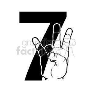 Sign Language number 7 clipart. Commercial use image # 391661