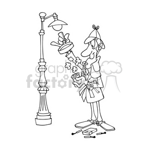 Sherlock Holmes bw cartoon caricature clipart. Royalty-free image # 391761