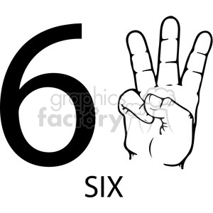 sign+language education numbers hand black+white 6 six