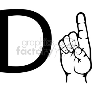 ASL sign language D clipart illustration worksheet clipart. Commercial use image # 392303
