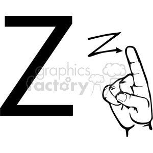 ASL sign language Z clipart illustration worksheet clipart. Royalty-free image # 392313