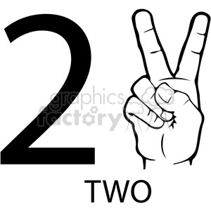 sign+language education numbers hand black+white 2 two