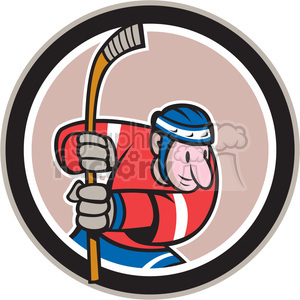 hockey player running in circle shape clipart. Commercial use image # 392333