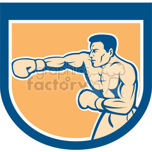 boxer punching side in shield shape clipart. Royalty-free image # 392343