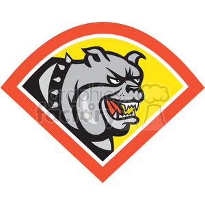 bulldog angry head in diamond shape clipart. Commercial use image # 392353