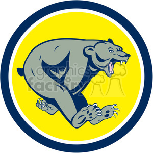 bear running side in circle shape clipart. Commercial use image # 392373