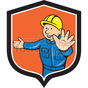 builder with hands out in shield shape clipart. Royalty-free image # 392383