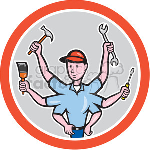 tradesman six hand front in circle shape clipart. Commercial use image # 392423