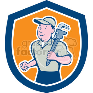 plumberwithwrench STANDING in shield shape clipart. Royalty-free image # 392433