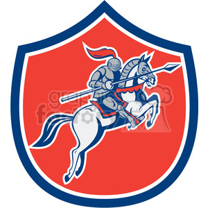 knight with lance riding horse prance in shield shape clipart. Commercial use image # 392443