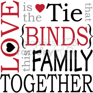 love family binds together tie heart hearts RG