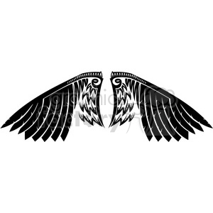 clipart - vinyl ready vector wing tattoo design 029.