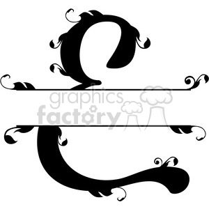 split regal e monogram vector design clipart. Royalty-free image # 392857
