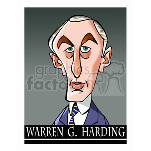 celebrity famous cartoon editorial-only people funny caricature warren+g+harding president 29th